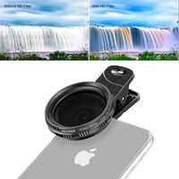 Neewer 37mm Clip-on ND 2-400 cámara de móvil Kit de filtros para lentes: filtro de densidad neutra ajustable con Clip de teléfono para Smartphone