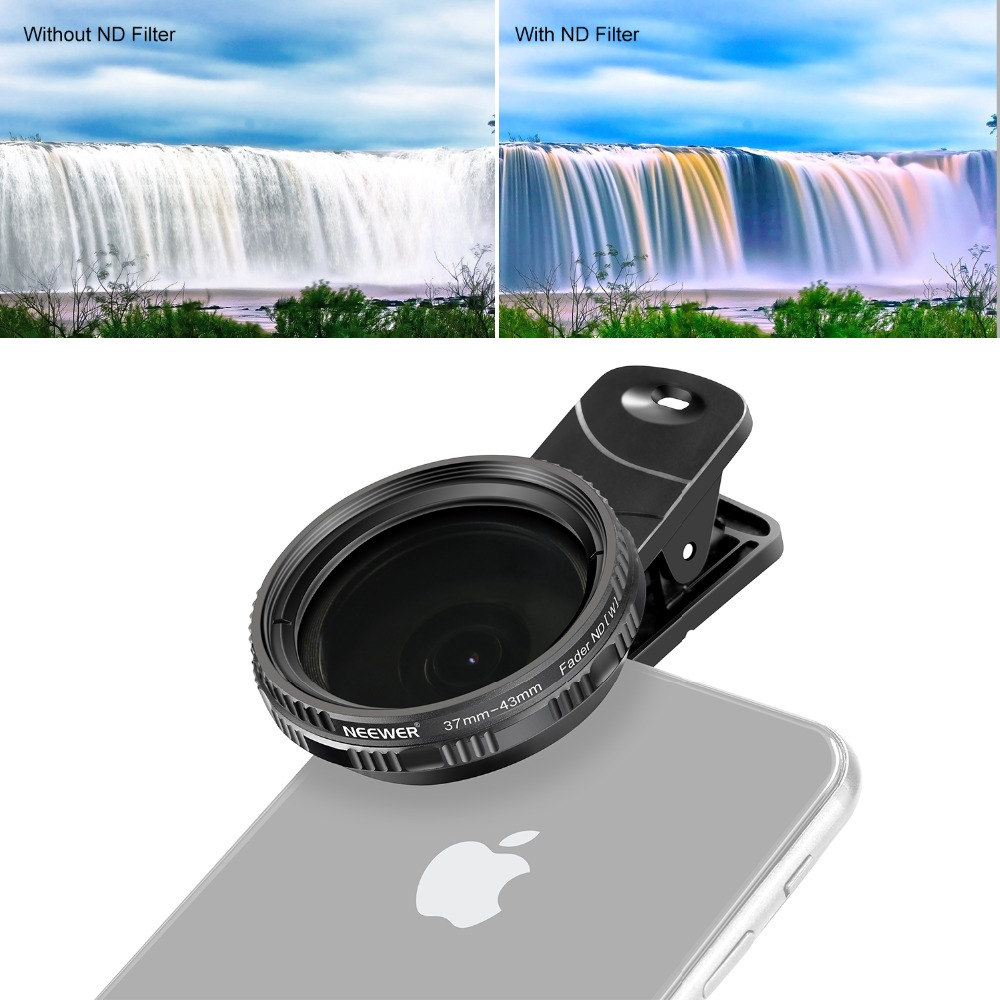 Neewer 37mm Clip-on ND 2-400 Cellphone Camera Lens Filter Kit: Adjustable Neutral Density Filter with Phone Clip for Smartphone