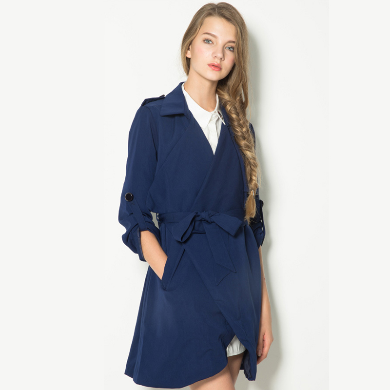 Women London Style Turn-down Collar Long Adjustable Sleeves Bow Knot Designed Waist Leisure   Trench   Coat Blue FS0584