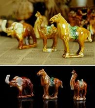 Archaeological creativity DIY toy children mining game play house colorful Tang sancai ceramics Elephant camel Horse model 1pc