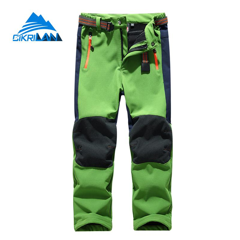 Kids Winter Windstopper Water Resistant Leisure Trekking Camping Softshell Trousers Climbing Hiking Outdoor Pants Boys Girls