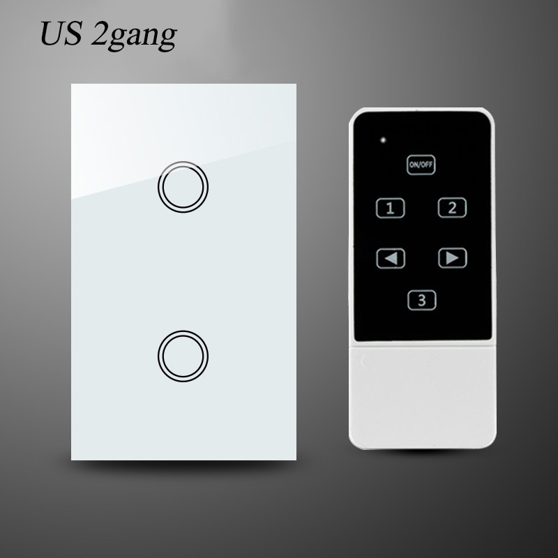 us au standard smart home remote control switch 2gang 1way wall light switch-white