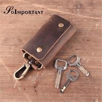 Vintage Genuine Leather Key Wallet Men Keychain Covers Hasp Key Case Bag Mens Key Holder Housekeeper