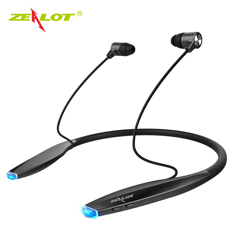 ZEALOT H7 baru Bluetooth Earphone Headphone dengan Magnet Daya Tarik Neckband Slim Wireless Headphone Sport Earbuds dengan Mic