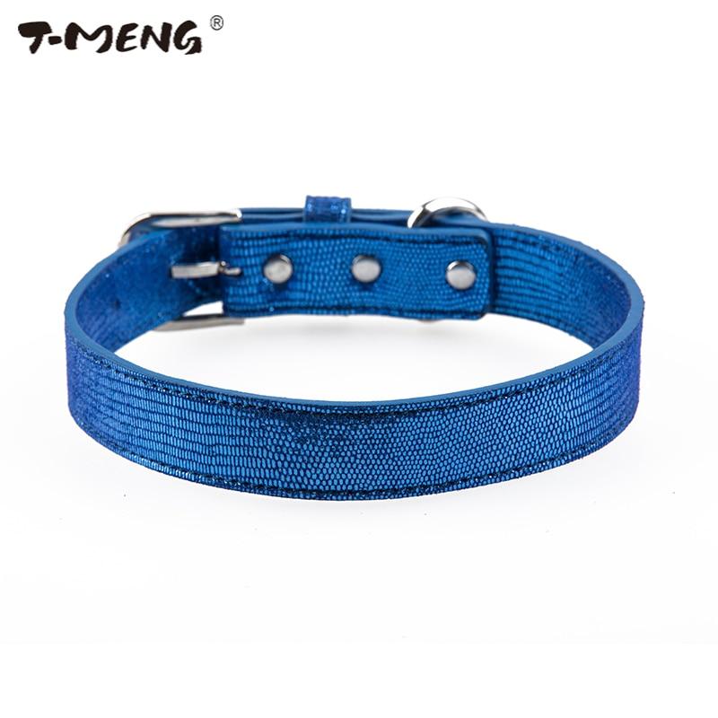 T-MENG Shining կապույտ կաշվե շների մանյակ - Ապրանքներ կենդանիների համար
