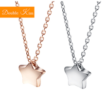Little Star Pendant Necklace Rose Gold Silver Color Titanium Stainless Steel Chain Necklace Fashion Trendy Women Jewelry Gift new arrival gold color stainless steel rivet pendant necklace fashion jewelry summer long women chain necklace birthday gift