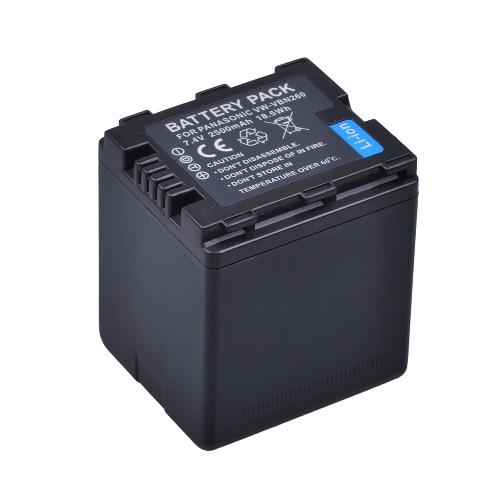 1Pc VW-VBN26 VBN260 Battery(2500mah) For Panasonic VW-VBN26 HC-X800, HC-X900, Panasonic VW-VBN390 VBN130 HC-X910 HC-X920