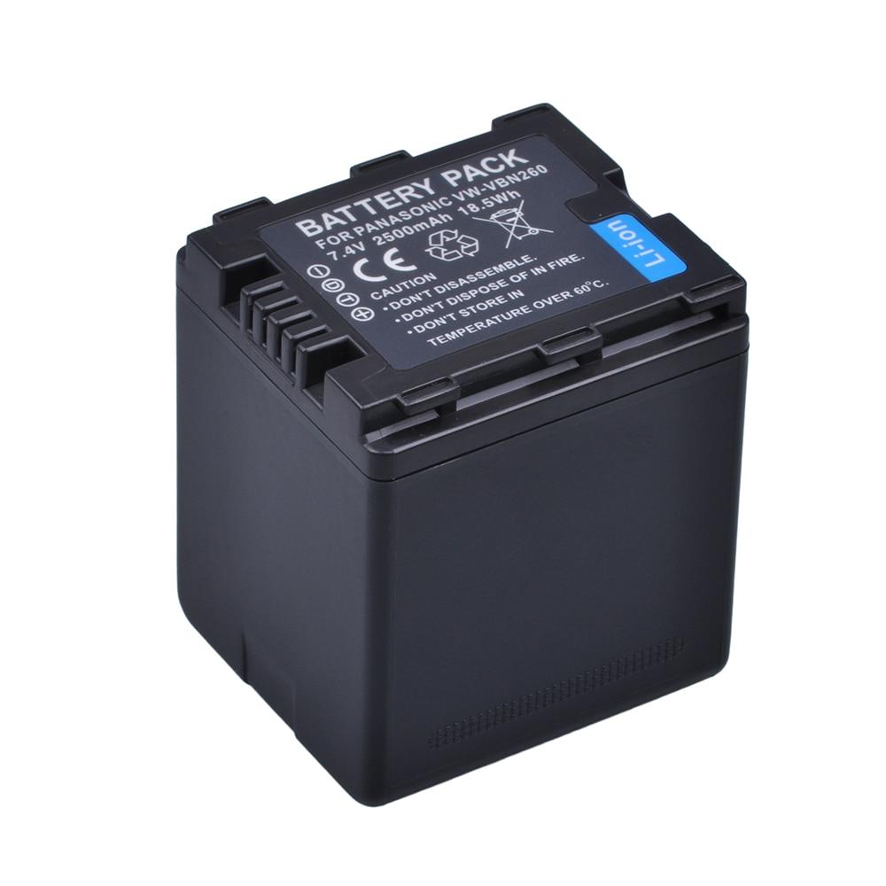 1Pc VW-VBN26 VBN260 Battery(2500mah) For Panasonic VW-VBN26 HC-X800, HC-X900, Panasonic VW-VBN390 VBN130 HC-X910 HC-X920