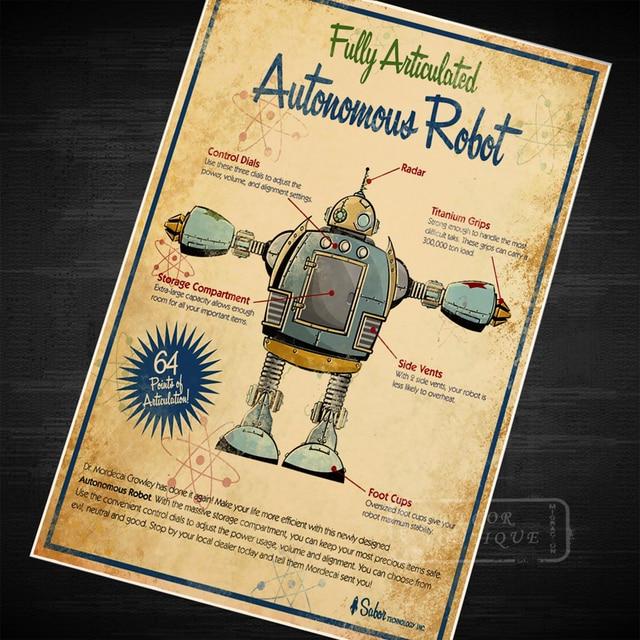 Sci fi alien robot design map classic vintage retro kraft poster decorative diy wall canvas