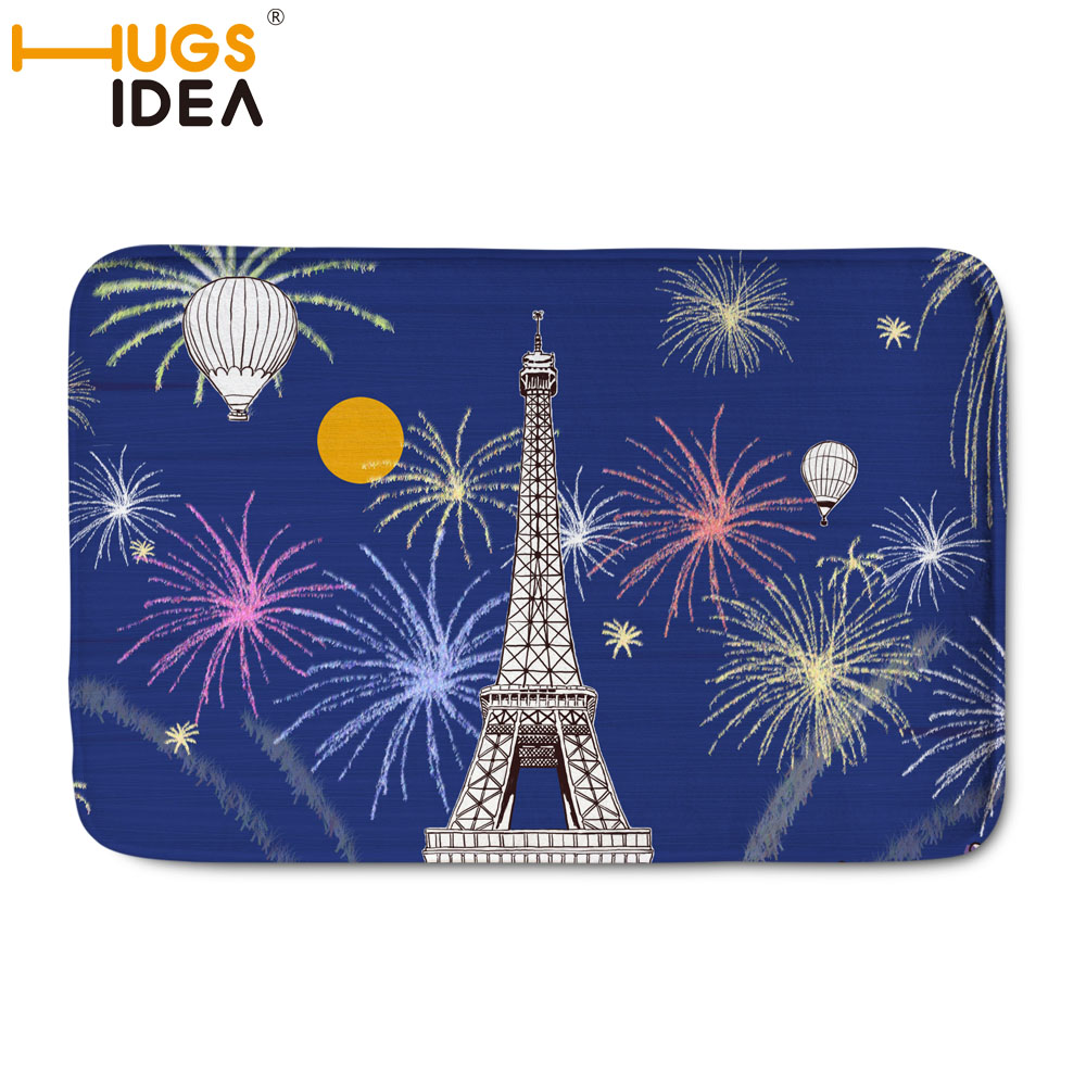 HUGSIDEA Eiffel Tower Printed Flannel Carpet For Living Room Children Kids Bedroom Small ...