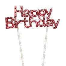 Cake Topper Crystal Rhinestone Shiny Happy Birthday Anniversary Kids Party Decor