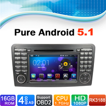 Pure Android 5.1 Car DVD Player GPS Navigation System for Mercedes-Benz ML Class W164, ML350, For Mercedes-Benz GL Class X164