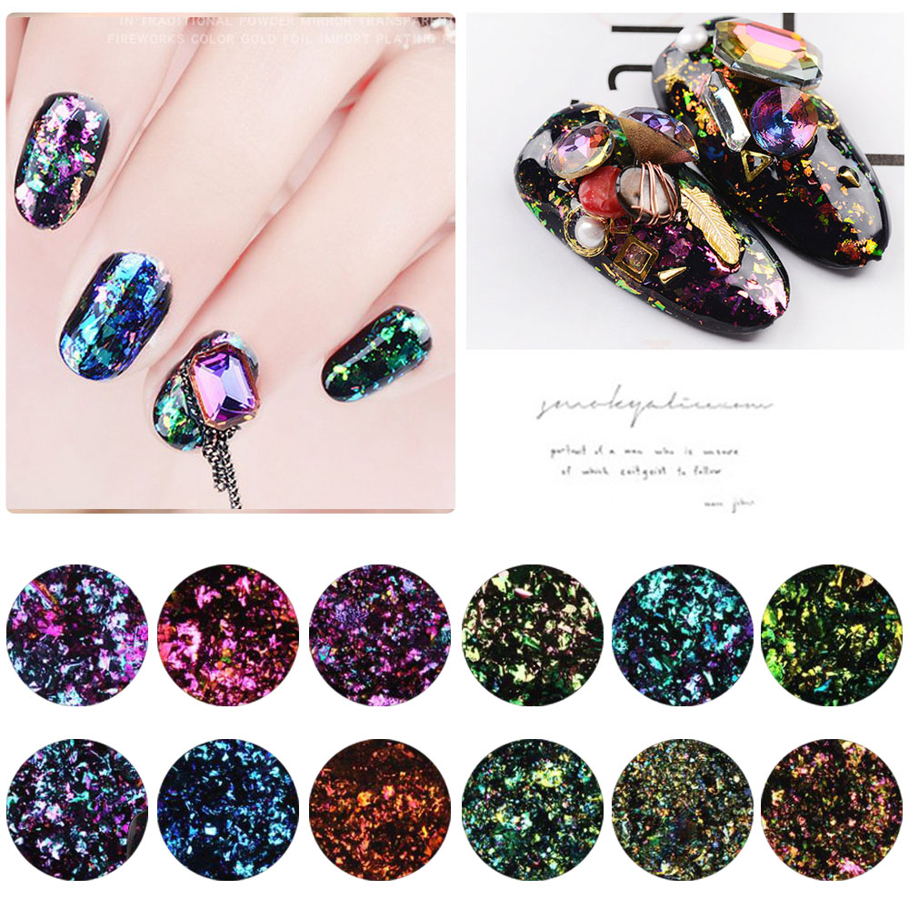 1 caja Camaleón Magic Mirror Effect Flakes Multi Chrome Nail Powder Glitter Lentejuelas Nail Art Gel Esmalte de uñas Manicura