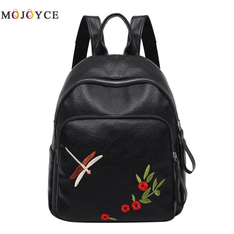Dragonfly Floral Embroidery School Shoulder Zipper Backpack Women Girl Travel PU Leather Backpack Mochila Feminina