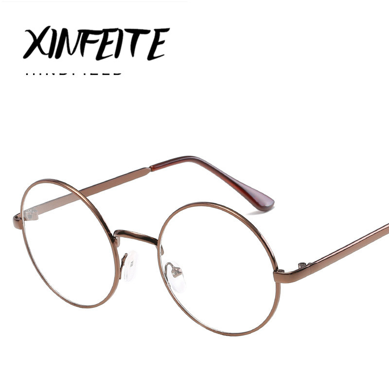 454445a294c XINFEITE 2018 Rose Gold Glasses Frame Female Male Round Oculos Unisex  Vintage Eyewear Women Man Transparent Clear HD Eyeglasses-in Eyewear Frames  from ...