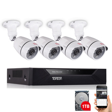Tonton 8CH 1080P CCTV System 4PCS Night Vision AHD Outdoor Weatherproof Security Camera Day/Night DIY Kit Video Surveillance Set