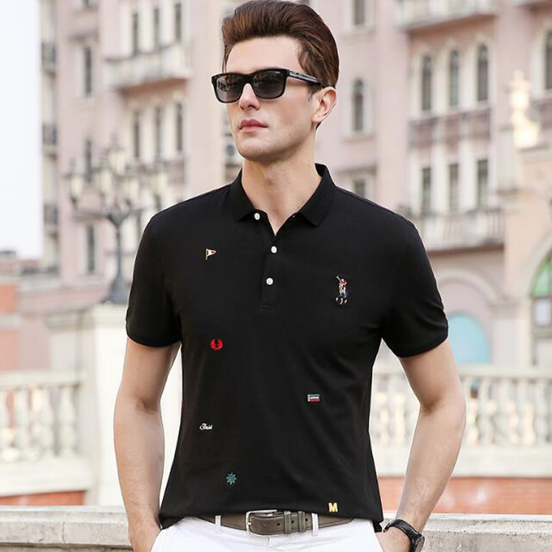 100% Wahr 2019 Neue Polos Hohe Qualität Marke Baumwolle Männer Polo-shirt Bestickt Casual Feste Shirt Polo Männer Camisa Polo Para Hombre