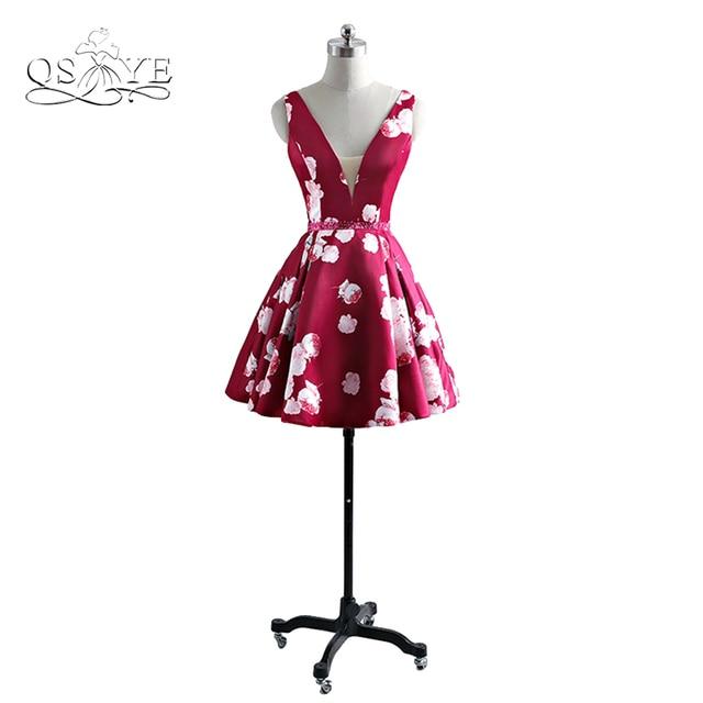bd4c3ef77 2017 Nova Moda 3D Floral Impressão Vestidos Curtos Prom Robe de sarau Sexy V  Neck As