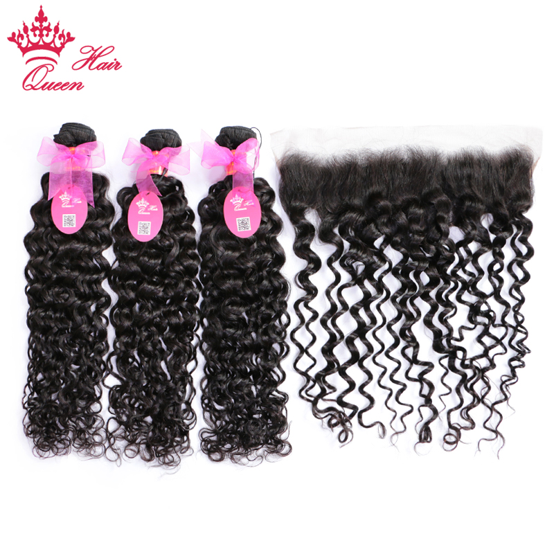 Queen Hair Brazilian Water Wave Lace Frontal Free Part 3 PCS Human Hair Bundles With Closure