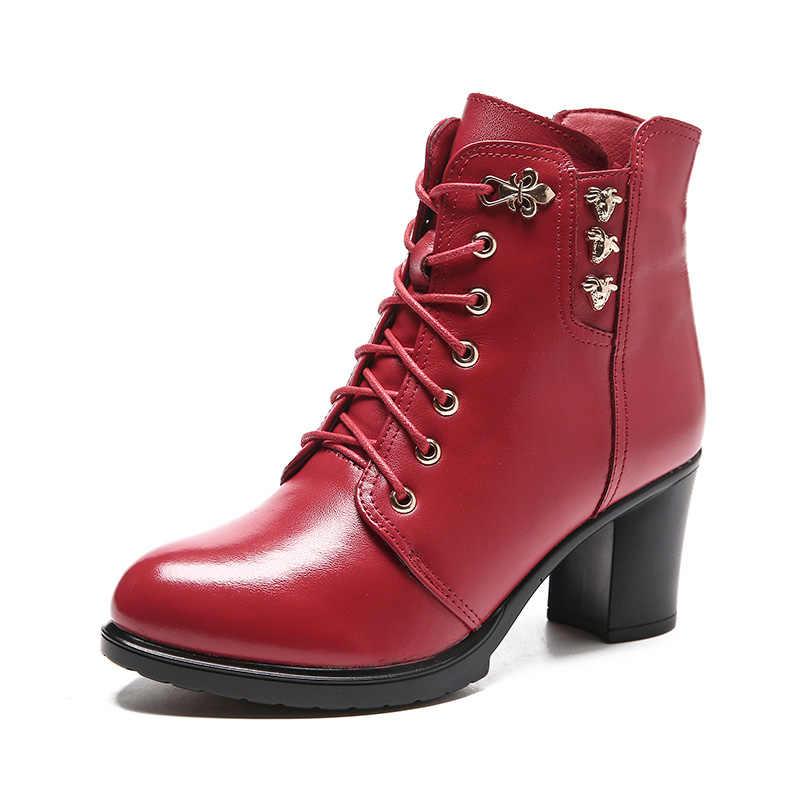 Ylqp 2019 Phụ Nữ Thời Trang Da Thật Chính Hãng Da Giày Nữ Thu Đông Nền Tảng Mắt Cá Chân Giày Người Phụ Nữ Phối Ren Cao Cấp giày