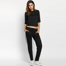Casual Women Patchwork Long Sleeve O Neck Sweatshirt And Pants Tracksuit New Fashion