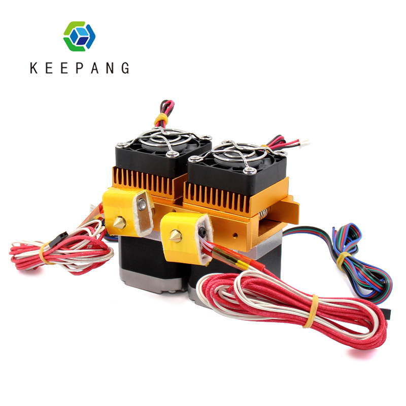 Kee Pang MK8 extruder hot end kit double nozzle for 3d printer parts accessories upgrade bowden extruder impressora 3d pe as