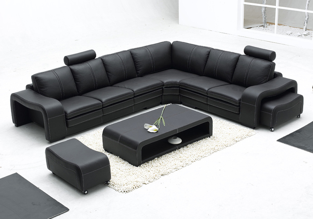 Modern Italian Furniture Simple Style Super Big Size Living Room L Shape Leather Sofa