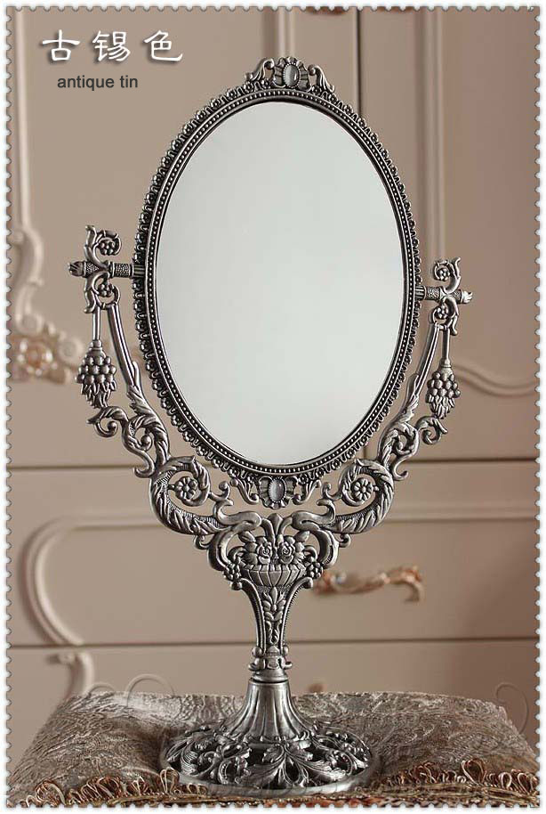 vintage retro oval 360 rotating compact mirror double face desktop table makeup cosmetic dresser mirror embossed