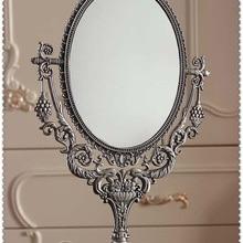 Винтажное Ретро овальное 360 вращающееся компактное зеркало с двойным лицом, настольный макияж, комод для макияжа, зеркало с тиснением и вырезом 331B