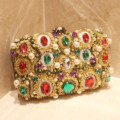 Handmade 2017 Luxury Fashion Diamond Evening Bag Gold Banquet Bag Women Fashion Rhinestone Handbags