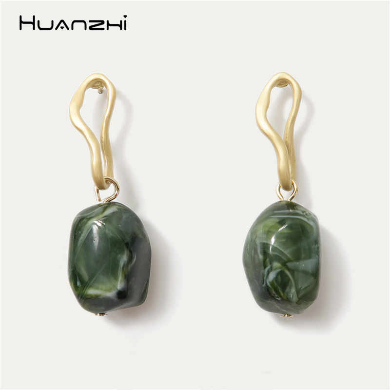 HUANZHI 2019 Chic 925 Retro Personality Irregular Acrylic Long Drop Earrings for Women Girls Wedding Party Travel Gifts Jewelry