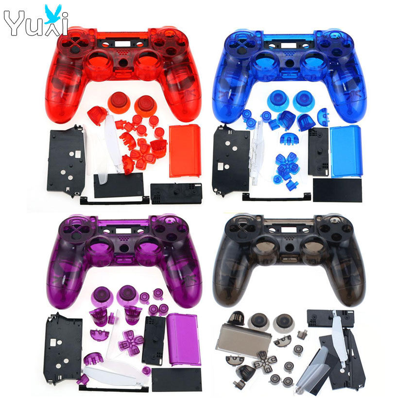 YuXi Clear Full Housing Controller Shell <font><b>Case</b></font> Cover <font><b>Mod</b></font> Kit buttons For Dualshock 4 <font><b>PS4</b></font> Old version JDM-001 Replacement Parts image