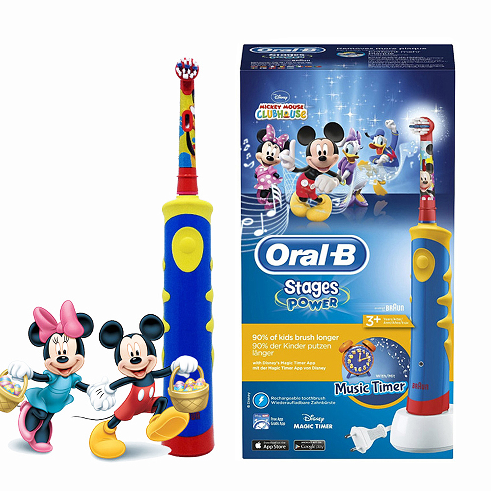 Oral B Braun Children Electric Toothbrush Music Timer Rechargeable Ultrasonic Electric Tooth Brush Mickey For Kids Teeth Brush ckeyin cartoon dolphin children music electric toothbrush led tooth brush 22000 min kids sonic toothbrush electric 3 brush heads