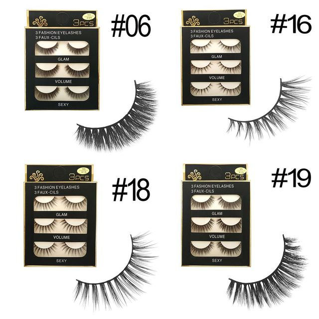 d9c0927525d 3 Pairs 3D 100% Real Mink Hair Thick False Eyelashes Cross Natural Long  Extension for Beauty Makeup #4 Styles