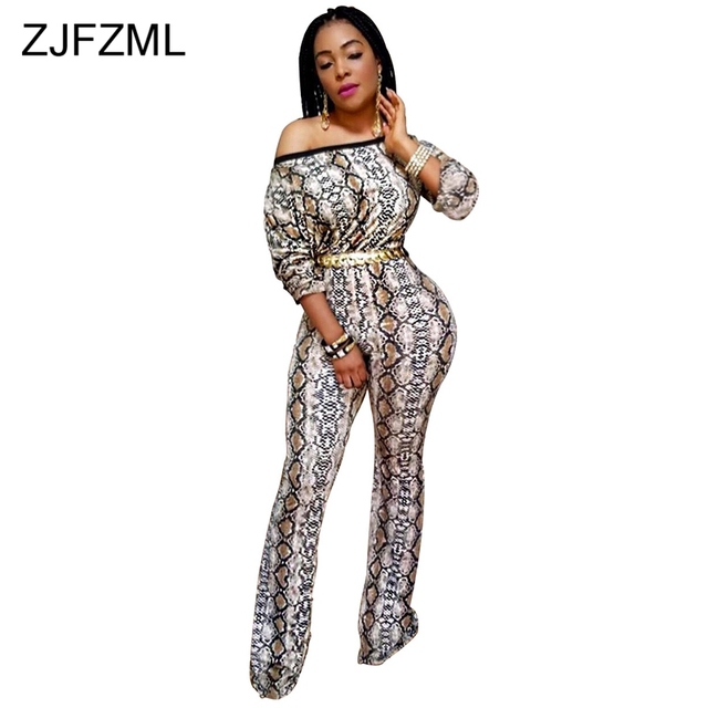 4b2ed637ab17 Snake Print Sexy Plus Size Overall For Women Slash Neck Long Sleeve Wide  Leg Jumpsuit Retro Off Shoulder Backless Party Bodysuit