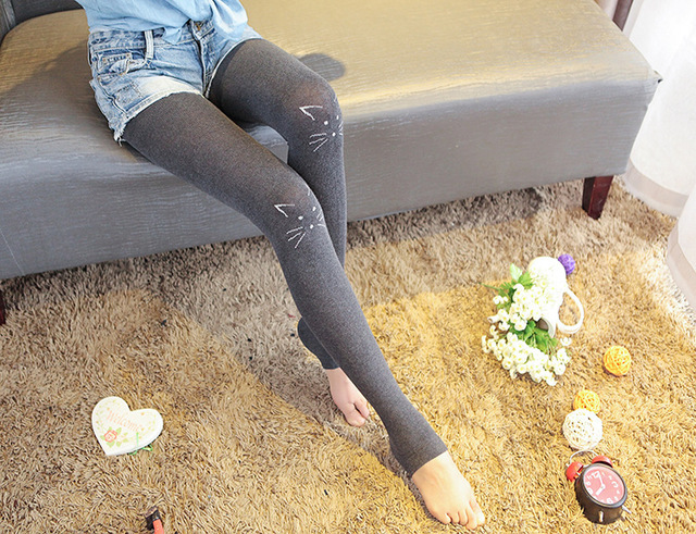 7 Colors Women's Legging Fashion Cat Cartoon Polyester Slimming Mid Waist Clothing Velvet Step On Foot Elastic Leggings