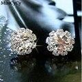 MissCyCy 2016 LA MANERA A Estrenar Esférico Crystal Flower Stud Pendientes Para Las Mujeres pendientes de joyería de moda