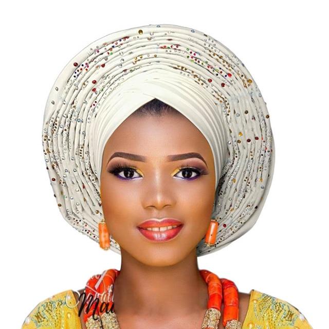 2018 plus récent aso oke tête cravate violet nigérian déjà fait peut porter directement casque