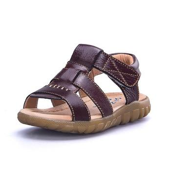 цена Boys Sandals 2020 Summer Children Shoes Boys Fashion Cut-outs Sandals Genuine Leather Kids Beach Sandals Breathable Flats Shoes онлайн в 2017 году