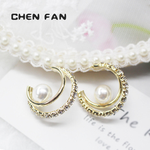 Jewelry fashion womens earrings 2019 pearl Earrings For Women with Rhinestone Gift Fashion CC