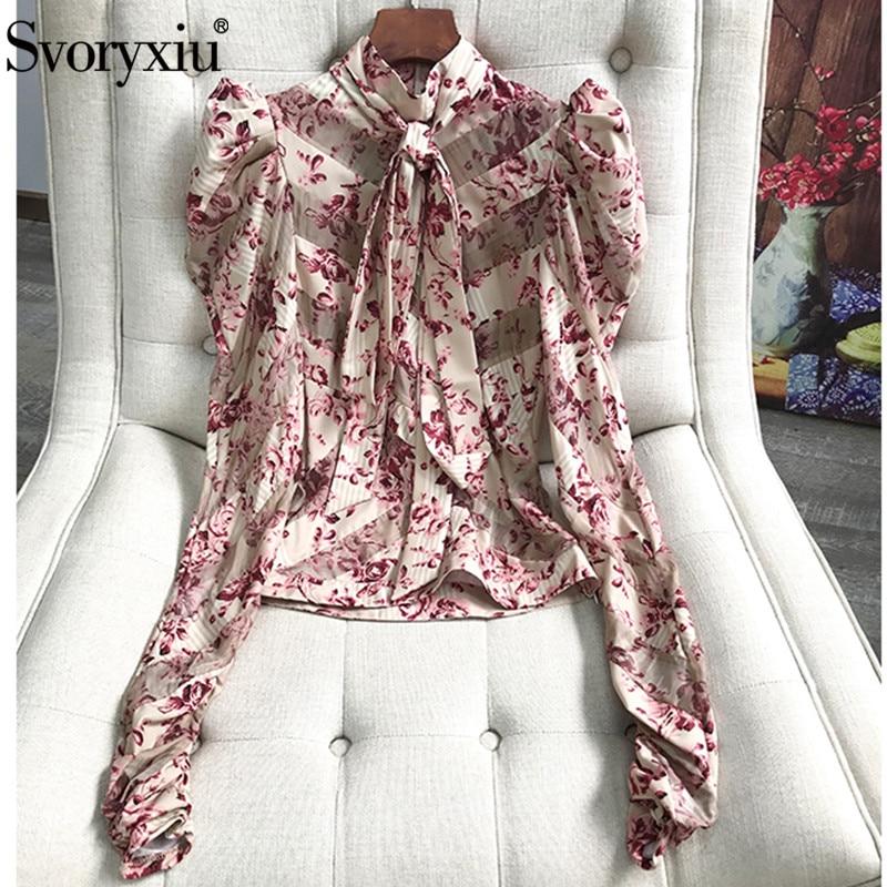 e531d69c55c Svoryxiu Designer Brand Autumn Summer Floral Print Blouse Tops Women s  Elegant Puff Sleeve Silk Organza Shirts Tops Tees Female