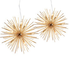 Dandelion Hedgehog Chandelier Aluminum Tube Spark Ball Creative Lamp Golden American Post modern Simple Restaurant Chandelier