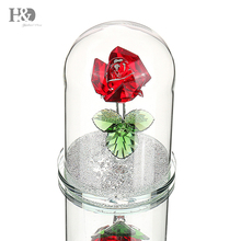 H&D Red Preserved Crystal Glass Rose Flower in Dome Gift for Valentines Day Anniversary Birthday