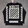 Best version 2016 winter off white Brushed Diagonal striped logo graphic printed long sleeve cotton men t-shirt tee