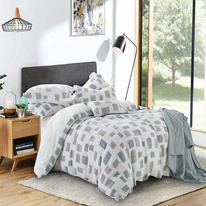 PHF 100 Cotton Muslin Duvet Cover Set Yarn Dyed Lightweight Breathable for Summer King Queen Size Cornflower Blue Purple Green in Duvet Cover from Home Garden