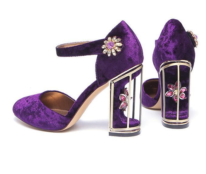 Chaussures Femmes Designer De Haute pourpre Sangle Talons 2018 Flock Cristal Rose Boucle Dernière Ethnique Mode Étrange Soirée qHnAUg4F
