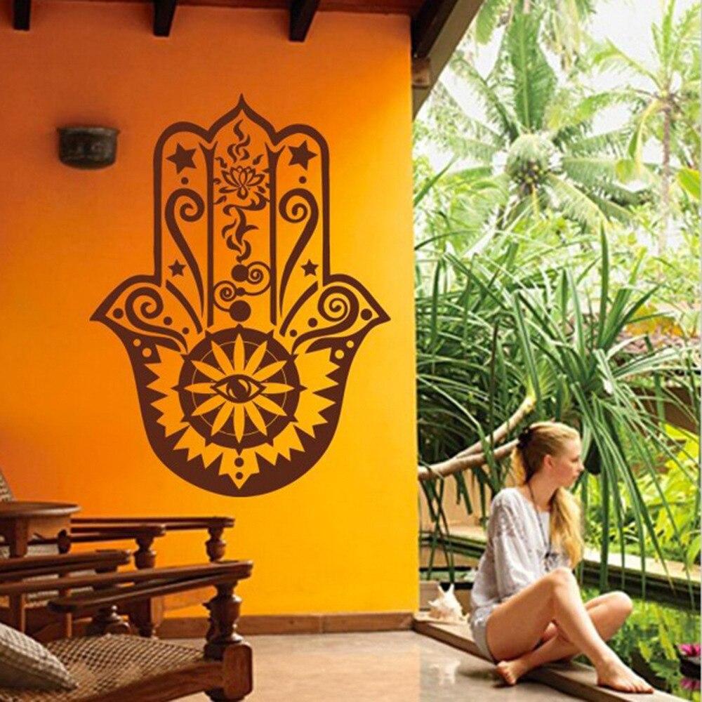 Art Home Decor Hamsa Hand Wall Decal Vinyl Fatima Yoga Vibes 3d Wall Sticker Fish Eye Decals