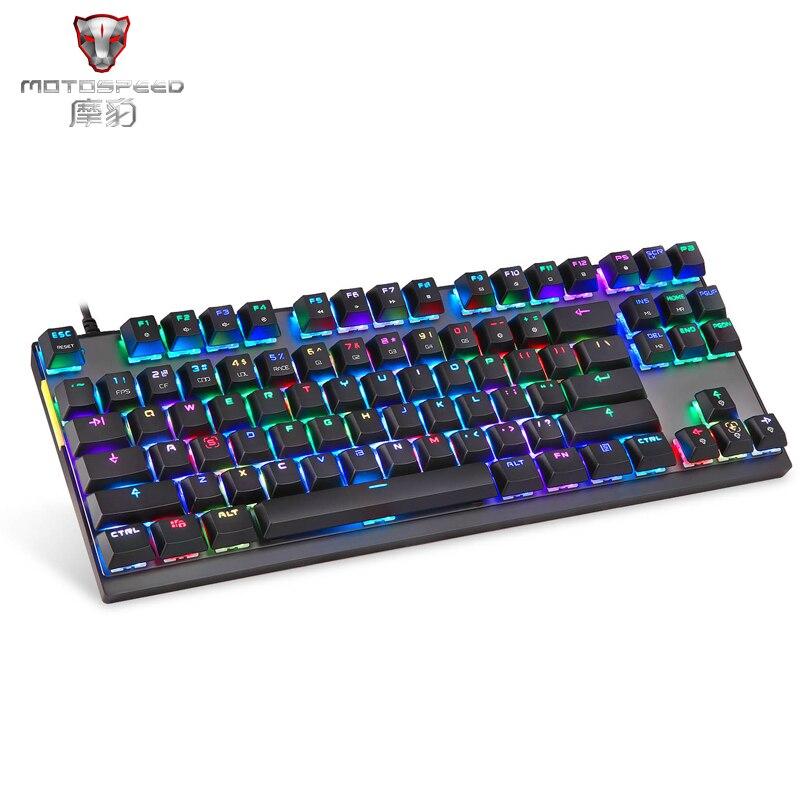 2019 novo motospeed k82 pubg gaming teclado mecânico rgb led backlight usb wired 87 teclas teclado para jogos esports