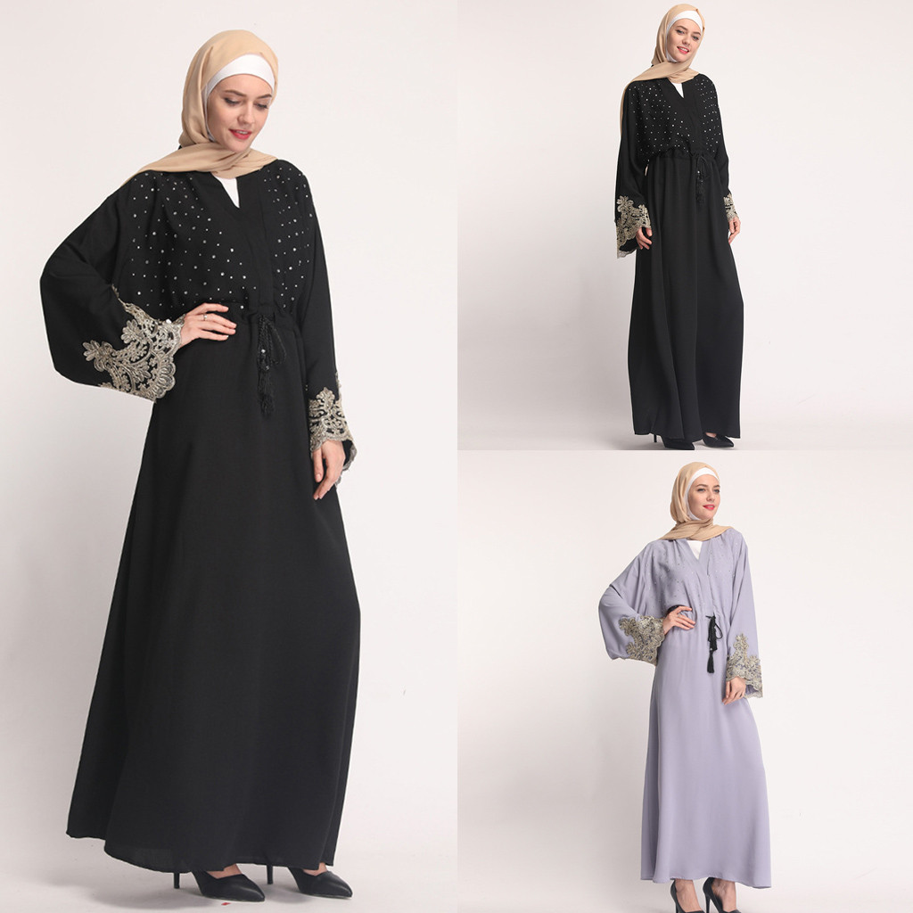 Mother & Kids Skillful Knitting And Elegant Design Muqgew Muslim Kaftan Muslim Summer Hot Tunic Rrilling Lace Fashion Black Lace Embroidered Loose Robes Clothing Musluman Elbise To Be Renowned Both At Home And Abroad For Exquisite Workmanship