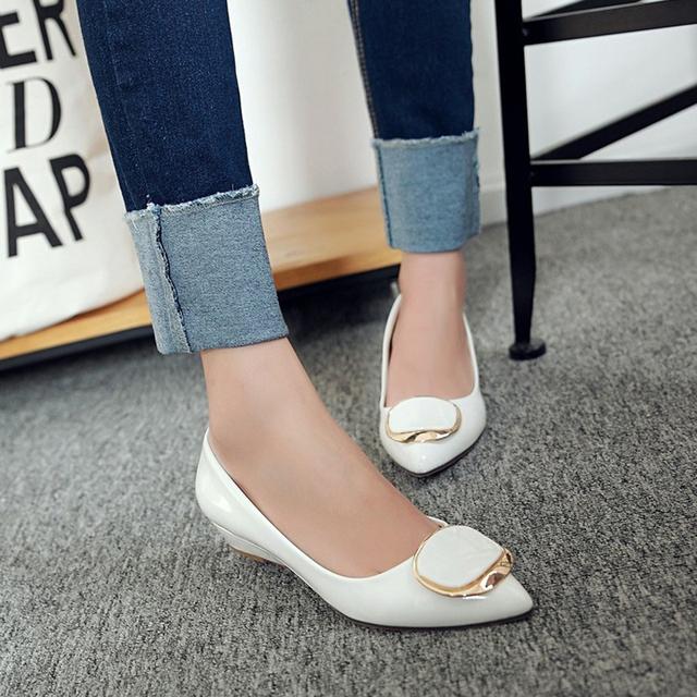 Meotina Women Shoes Wedge Heels Bridal Wedding Shoes Spring Low Heels Pumps Ladies Shoes Pumps Slip On Pink White Big Size 42 43